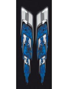 Naklejka - Płomienie Z Czachami Kolor Niebieski (2Szt.)