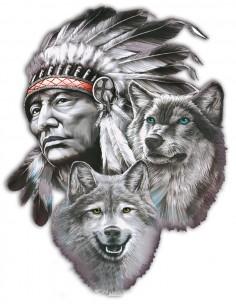 Naklejka Indianin Z Wilkami 48X33Cm