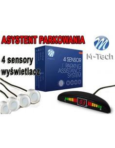 Czujniki Parkowania - Wyświetlacz 4 Sensory Białe