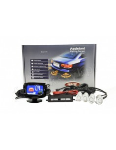 Czujniki Parkowania - 4 Sensory Srebrne Led Graficzny Vertex