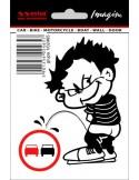 """Naklejka - Chłopiec Olewający Znak """"zakaz Wyprzedzania"""" 11X8 Cm"""
