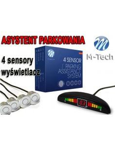 Czujniki Parkowania - Wyświetlacz 4 Sensory Srebrne